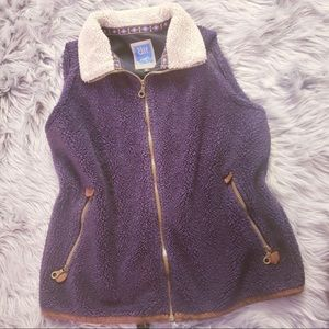 Alf deep pile Sherpa vest fleece full zip purple